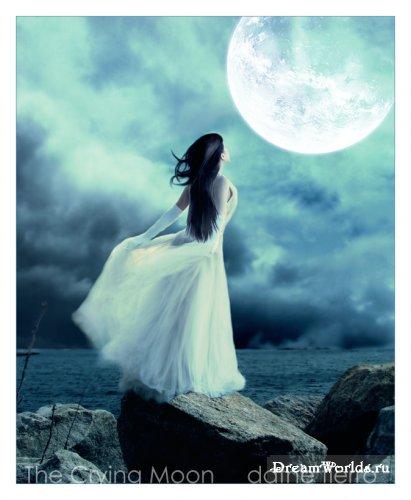 Фото девушки и луны на аву